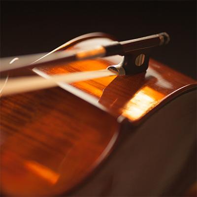 gudalo i violina u mraku na direktnom svetlu